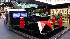 Bilder Panzer Innenarchitektur Tag des Verteidigers des Vaterlandes Wolgograd Voroshilov mall, T-34-85