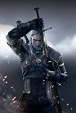 Fotos The Witcher 3: Wild Hunt Geralt von Rivia Mann Krieger Schwert Fantasy