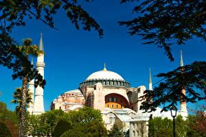 Bakgrundsbilder på skrivbordet Turkiet Istanbul Tempel Moské Blue Mosque