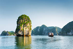 Wallpaper Vietnam Mountain Ships Sea Bay Cliff Halong Bay Nature