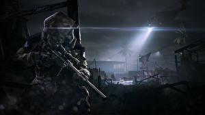 Hintergrundbilder Warface Hubschrauber Gewehre Nacht computerspiel