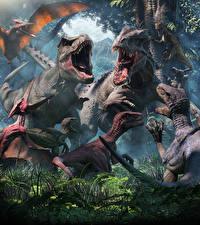 Fonds d'écran Anciens animaux Dinosaure Tyrannosaurus rex Rictus 3D_Graphiques