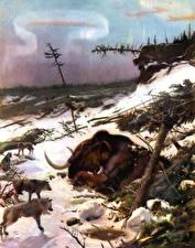 Hintergrundbilder Alte Tiere Mammute Wolf Zdenek Burian ein Tier