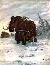 Bilder Alte Tiere Zdenek Burian Mammute Zwei