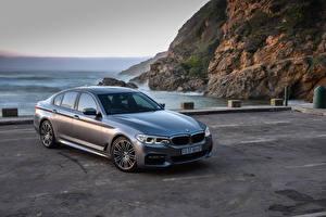 Hintergrundbilder BMW Graues Limousine 2017 540i Sedan M Sport Autos