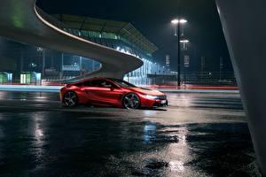 Hintergrundbilder BMW Fahrzeugtuning Rot Nacht 2017 AC Schnitzer ACS8 Autos