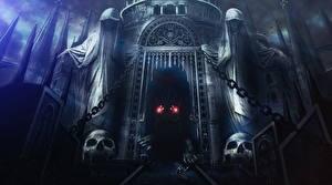 Bakgrundsbilder på skrivbordet Borg Krigare Dark Souls Odjur Gotisk fantasi En båge arkitektur 2 spel Fantasy