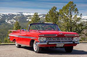 Bilder Chevrolet Retro Rot Metallisch Cabriolet 1959 Impala Convertible Autos