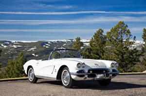 Wallpaper Chevrolet Retro Cabriolet White 1962 Corvette Fuel Injection auto