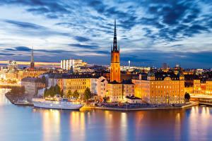 Hintergrundbilder Küste Abend Gebäude Schweden Stockholm Türme