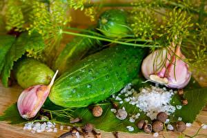 Hintergrundbilder Gurke Knoblauch Dill Schwarzer Pfeffer Salz das Essen