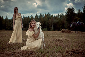 Images Dogs Sighthound 2 Blonde girl Gown Girls