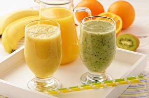 Images Drinks Bananas Orange fruit Smoothie Stemware Jug container Food