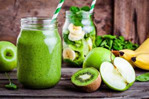 Image Drinks Kiwi Apples Wood planks Jar Food