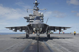 Images Airplane Fighter Airplane Aircraft carrier Front Deck (ship) F-35 Lightning II Aviation
