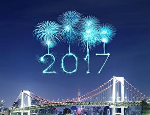 Pictures Fireworks Bridge Night 2017 Cities