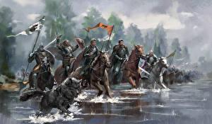 Fotos Game of Thrones Gezeichnet Ritter Pferde Wasser Rüstung Film