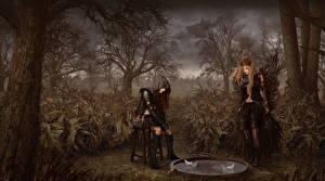 Fotos Gothic Fantasy 2 Bäume Fantasy Mädchens