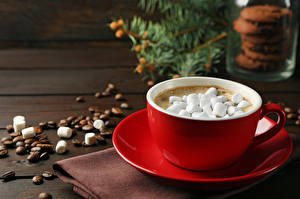 Pictures Cocoa Mug Red Marshmallow Food