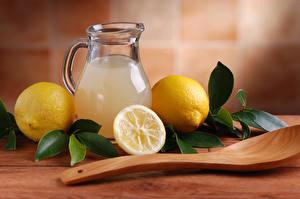 Images Lemons Drinks Lemonade Jug container Spoon Leaf
