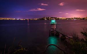 Fotos Leuchtturm Küste Australien Meer Sydney Nacht Bucht Natur