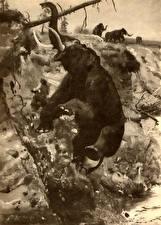 Hintergrundbilder Mammute Zdenek Burian Alte Tiere Schwarz weiß Tiere