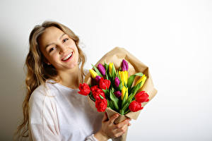 Wallpaper March 8 Bouquets Tulips Blonde girl Smile Beautiful Girls