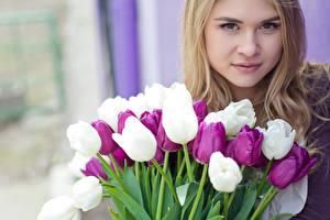 Photo International Women's Day Tulips Blonde girl Face Girls