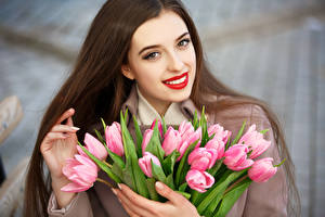 Images International Women's Day Tulips Brown haired Smile Girls