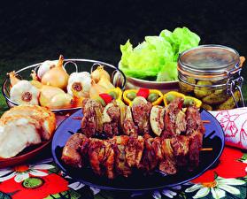 Wallpaper Meat products Shashlik Onion Jar Food
