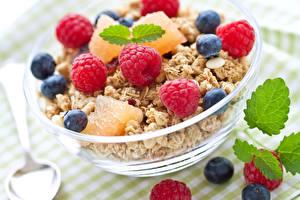 Hintergrundbilder Müsli Himbeeren Heidelbeeren Frühstück