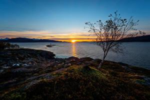Bilder Norwegen Sonnenaufgänge und Sonnenuntergänge Flusse Küste Sonne Natur