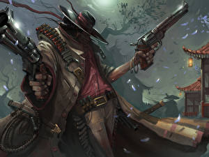 Wallpaper Pistols Cartridge (firearms) Warriors Night Hat Revolver Fantasy