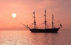 Bilder Segeln Meer Abend Schiff