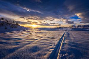 Bilder Landschaftsfotografie Winter Sonnenaufgänge und Sonnenuntergänge Himmel Schnee Wolke Natur