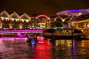Hintergrundbilder Singapur Gebäude Bootssteg Motorboot Nacht Bucht Städte