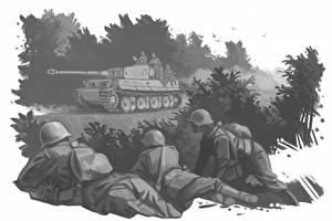 Wallpaper Soldiers Tanks Painting Art Black and white Tiger military