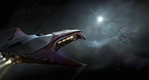 Bureaubladachtergronden Star Citizen Interstellair ruimteschip videogames Ruimte Fantasy