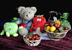 Pictures Still-life Fruit Strawberry Lemons Teddy bear Toy Food