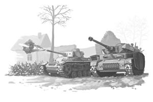 Wallpapers Tank Painting Art Black and white German Firing Army