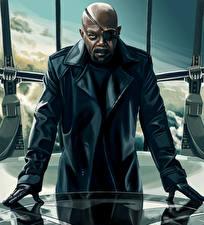 Tapety na pulpit Avengers (film 2012) Superbohaterów Mężczyźni Opaska na oko Łysy Murzyn Kurtka Samuel Leroy Jackson Nicholas Joseph Fury