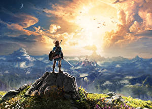 Desktop wallpapers The Legend of Zelda Mountains Warriors Scenery Clouds Breath of the Wild vdeo game Fantasy