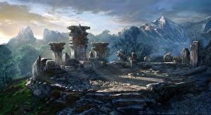 Bilder The Witcher 3: Wild Hunt Berg Ruinen computerspiel