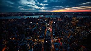 Hintergrundbilder USA Gebäude Nacht New York City Von oben Städte