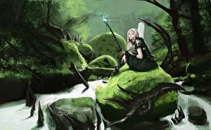 Bureaubladachtergronden Krijgers Draken Zittend Fantasie Wandelstok Fantasy Jonge_vrouwen