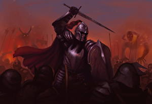 Fotos Krieger Schild (Schutzwaffe) Schwert Helm Rüstung Fantasy