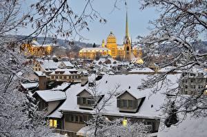 Photo Winter Houses Switzerland Zurich Snow Roof