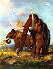Bilder Zdenek Burian Alte Tiere Mammute Zwei ein Tier