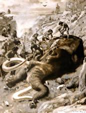 Fotos Zdenek Burian Mammute Malerei Alte Tiere Schwarz weiß