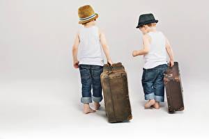 Images Boys 2 Suitcase Hat Singlet Jeans White background Children